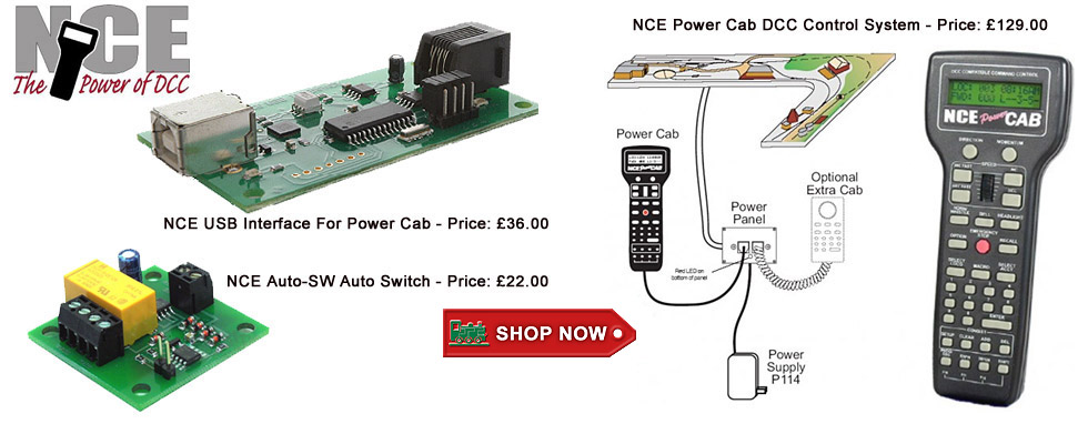 NCE Power Cab DCC Control System and Accessories - click above for more....
