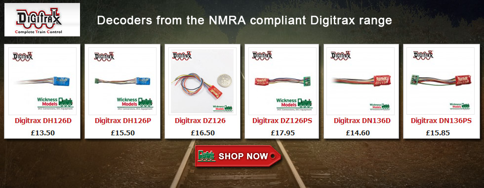 DCC decoders from the NMRA Compliant Digitrax range - click above for more ....